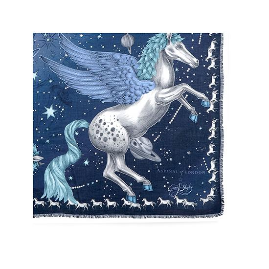 Pegasus Cashmere Blend Scarf in Blue from Aspinal of London