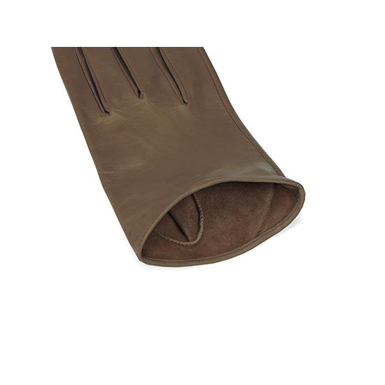 Ladies Short Unlined Leather Gloves in Taupe Nappa from Aspinal of London