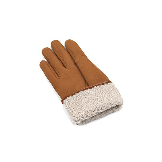 Ladies Sheepskin Lined Suede Gloves in Tan Suede from Aspinal of London