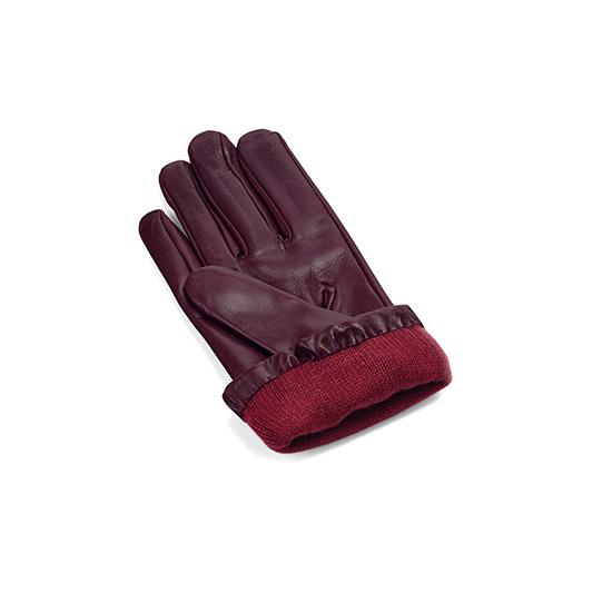 Ladies Cashmere Lined Leather Gloves with Buckle in Bordeaux from Aspinal of London