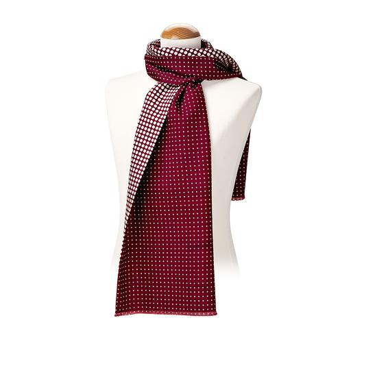 Men's Reversible Polka Dot Scarf in Burgundy from Aspinal of London