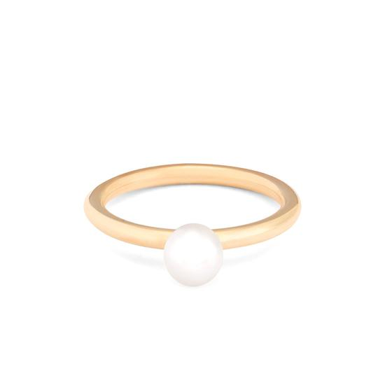 6mm White Japanese Akoya Pearl Ring from Aspinal of London