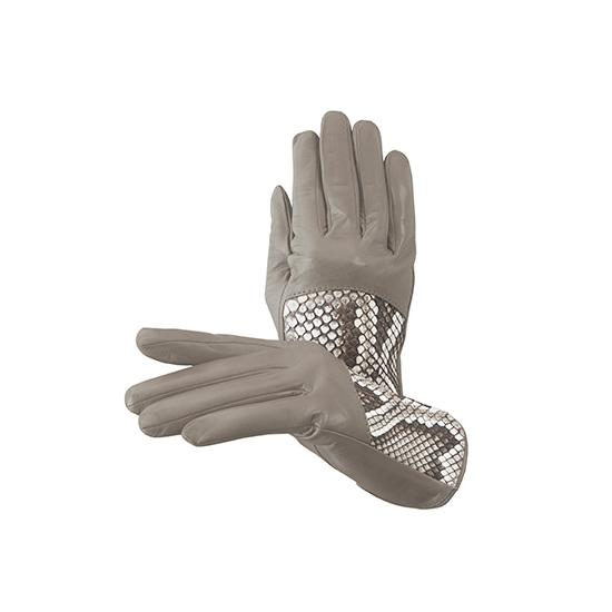 Ladies Python Leather Gloves in Tortora Nappa & Natural Python from Aspinal of London