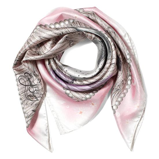 Pegasus Feather Silk Twill Scarf in Rose from Aspinal of London