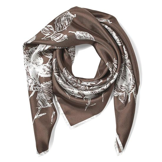 English Rose Silk Twill Scarf in Chanterelle & Snow White from Aspinal of London