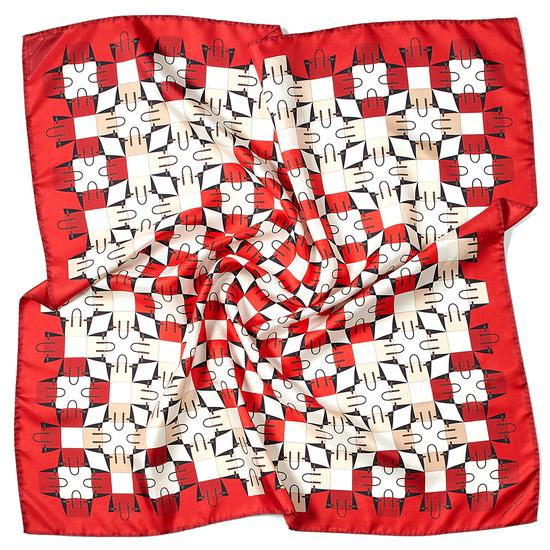 Marylebone Geometric Silk Scarf in Berry from Aspinal of London