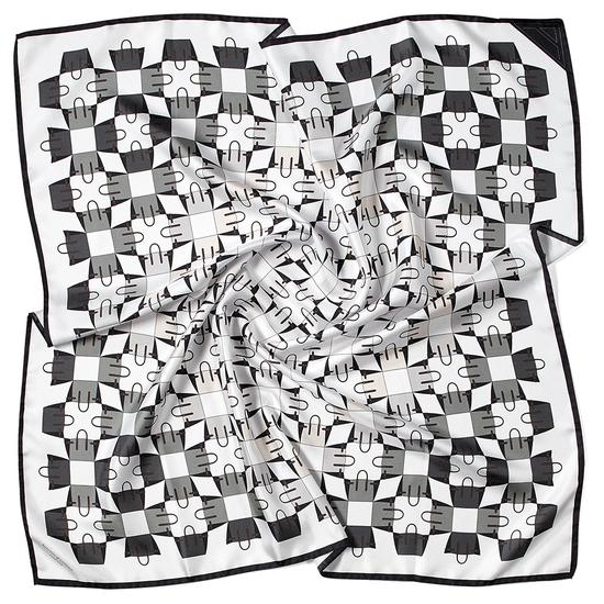 Marylebone Geometric Silk Scarf in Monochrome from Aspinal of London
