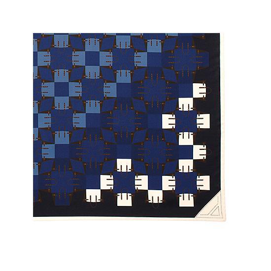 Marylebone Geometric Silk Scarf in Navy from Aspinal of London