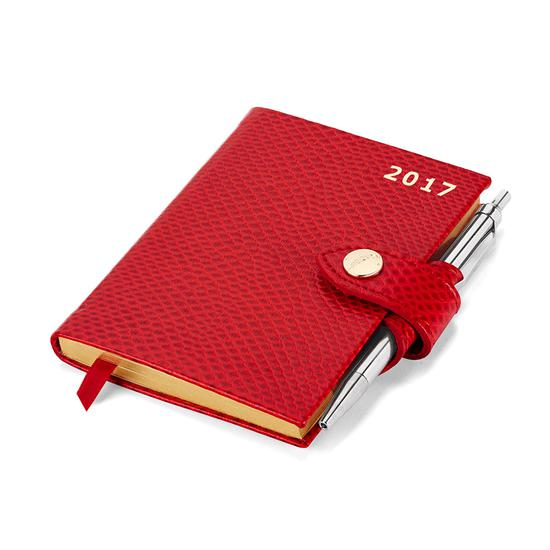Mini Pocket Week to View Leather Diary with Pen in Berry Lizard from Aspinal of London
