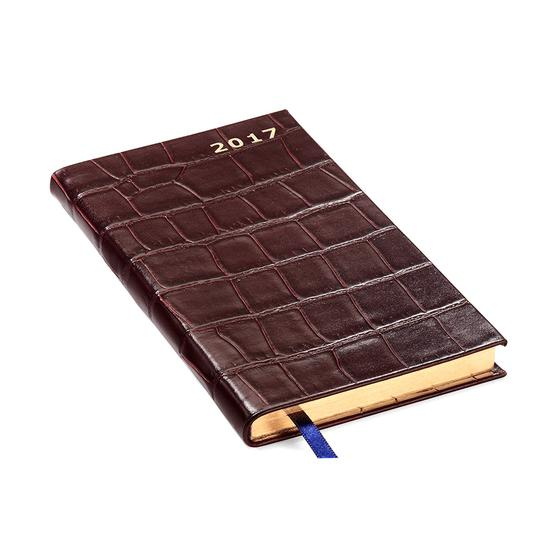 Slim Pocket Week to View Leather Diary in Deep Shine Amazon Brown Croc from Aspinal of London