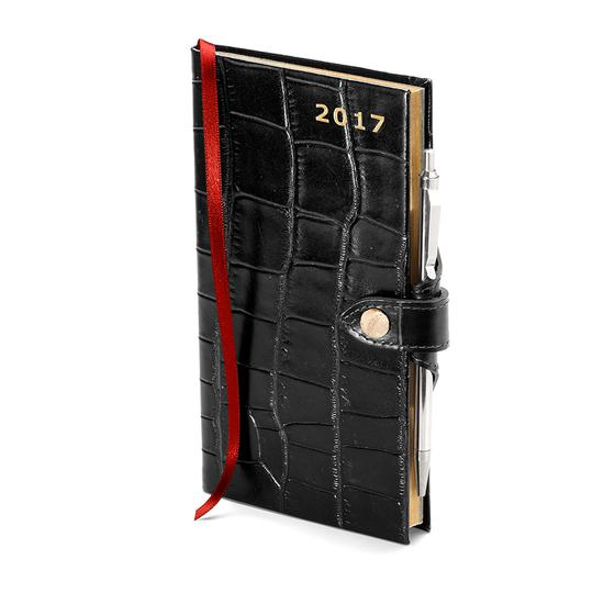 Slim Pocket Week to View Leather Diary with Pen in Deep Shine Black Croc from Aspinal of London