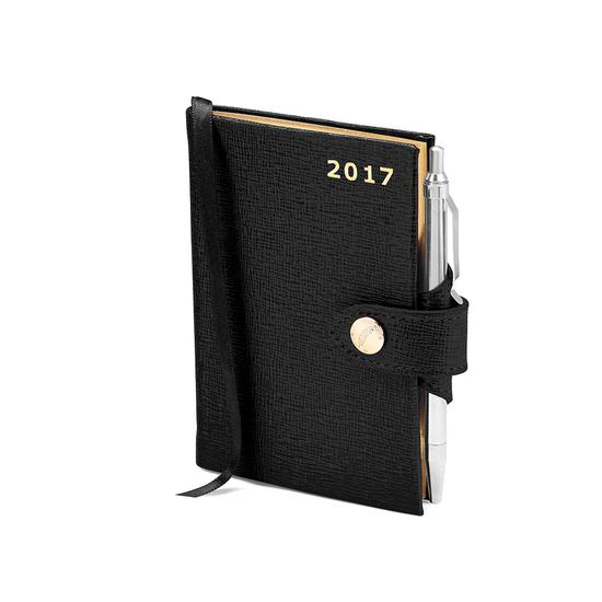 Mini Pocket Week to View Leather Diary with Pen in Black Saffiano from Aspinal of London