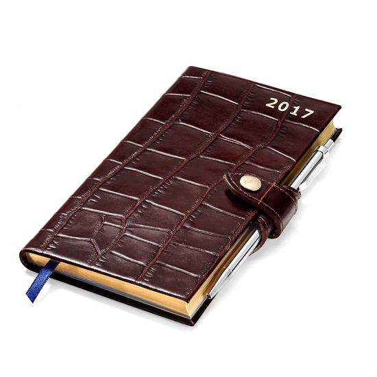 Slim Pocket Week to View Leather Diary with Pen in Deep Shine Amazon Brown Croc from Aspinal of London