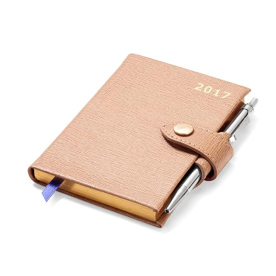 Mini Pocket Week to View Leather Diary with Pen in Deer Saffiano from Aspinal of London