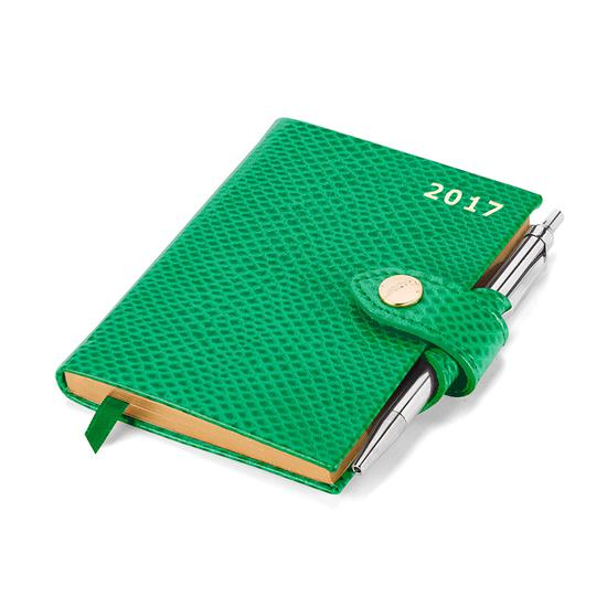 Mini Pocket Week to View Leather Diary with Pen in Grass Green Lizard from Aspinal of London