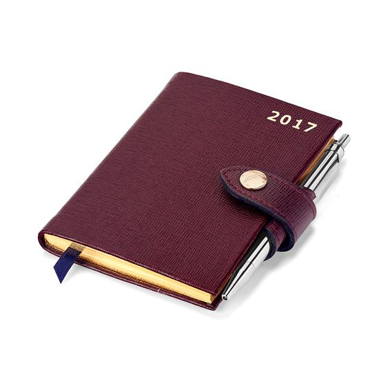 Mini Pocket Week to View Leather Diary with Pen in Burgundy Saffiano from Aspinal of London