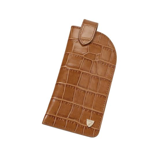 Slimline Glasses Case in Deep Shine Vintage Tan Croc & Cappuccino Suede from Aspinal of London