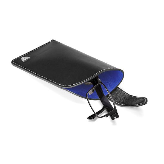 Slimline Glasses Case in Smooth Black & Cobalt Blue Suede from Aspinal of London