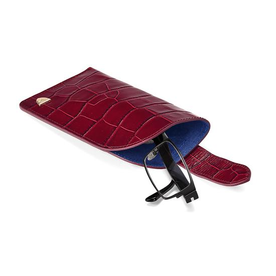 Slimline Glasses Case in Deep Shine Bordeaux Croc & Navy Suede from Aspinal of London