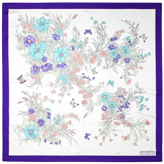 Bouquet of Flowers Silk Scarf in Purple from Aspinal of London