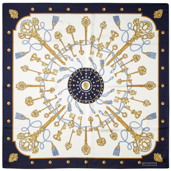 Tassles Silk Scarf in Midnight Blue from Aspinal of London