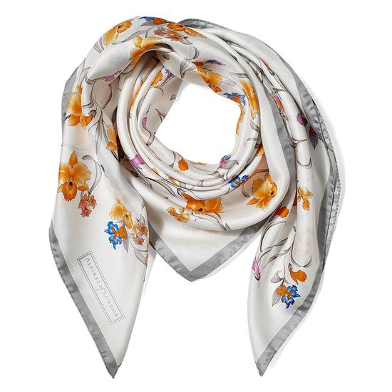 Mini Flowers Silk Scarf in Grey from Aspinal of London