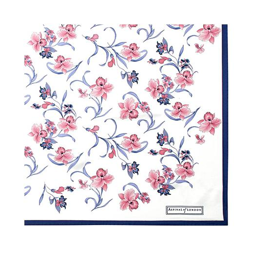 Mini Flowers Silk Scarf in Cornflower Blue from Aspinal of London