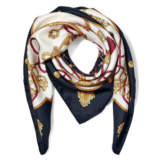 Tassles Silk Scarf in Black from Aspinal of London