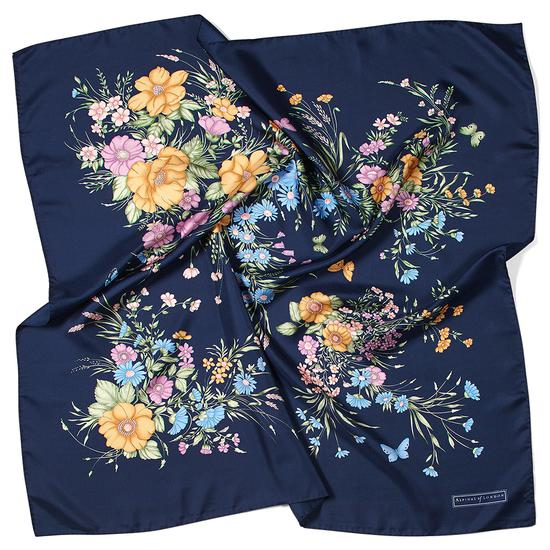 Bouquet of Flowers Silk Scarf in Blue from Aspinal of London