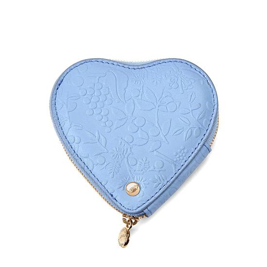 Heart Coin Purse in Misty Blue Embossed Flower & Silver Suede from Aspinal of London