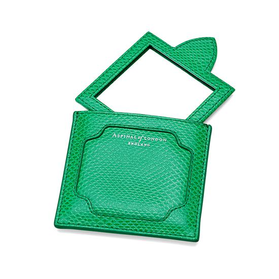 Marylebone Compact Mirror in Grass Green Lizard from Aspinal of London