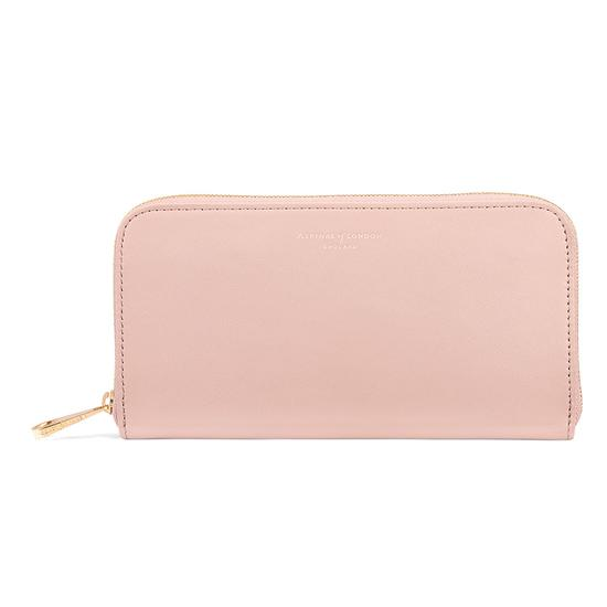Continental Clutch Zip Wallet in Peach Kaviar from Aspinal of London