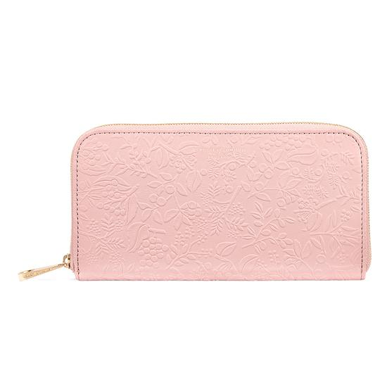 Continental Clutch Zip Wallet in Peach Embossed Flower from Aspinal of London