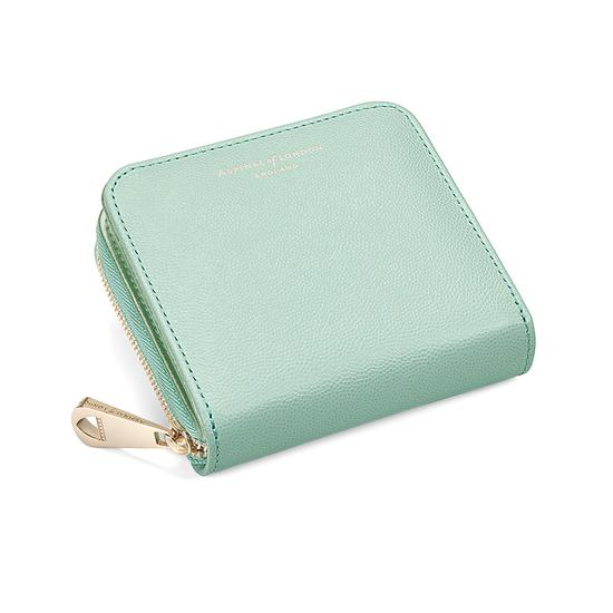 Mini Continental Zipped Coin Purse in Peppermint Metallic from Aspinal of London