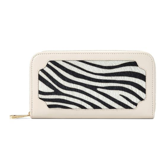 Marylebone Purse in Smooth Ivory & Zebra Haircalf from Aspinal of London