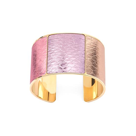 Minerva Cuff Bracelet in Rose Gold, Dragonfly, Flamingo Pink Metallic Snake from Aspinal of London