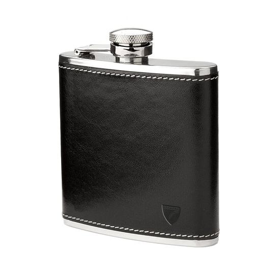 Men's Gift Set (Billfold Coin Wallet & Hip Flask in Black) from Aspinal of London
