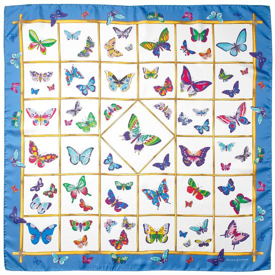 Multi Coloured Butterflies Silk Scarf in Forget Me Not from Aspinal of London