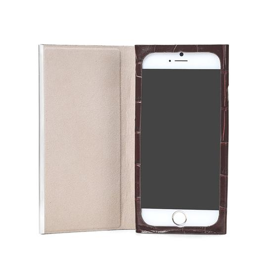 iPhone 6 Leather Book Case in Deep Shine Amazon Brown Croc & Stone Suede from Aspinal of London
