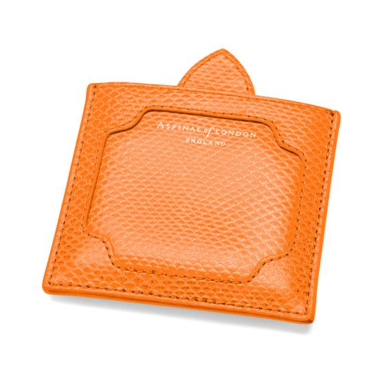 Marylebone Compact Mirror in Orange Lizard from Aspinal of London