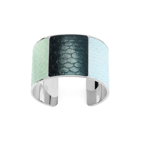 Silver Minerva Cuff Bracelet in Peppermint, Peacock Metallic & Misty Blue Snake from Aspinal of London