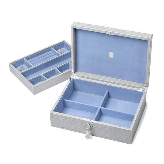 Grand Luxe Jewellery Case in Dove Grey Croc & Pale Blue Suede from Aspinal of London