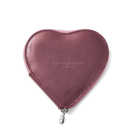 Heart Coin Purse in Dragonfly Patent & Baby Pink Suede from Aspinal of London