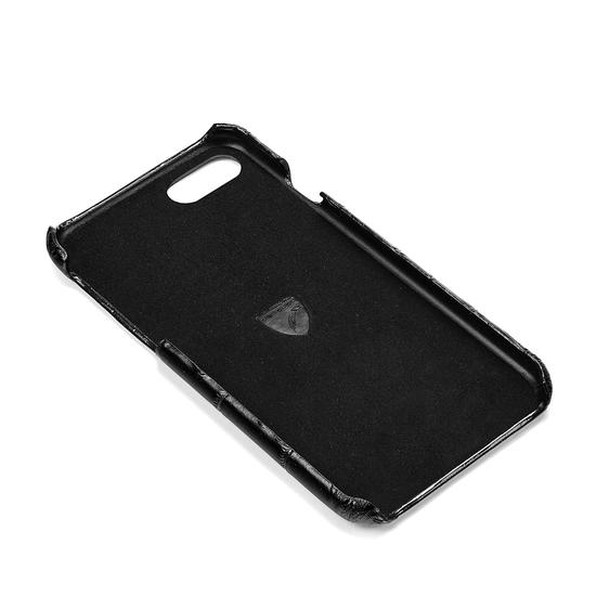 iPhone 6 Leather Cover in Deep Shine Black Croc & Black Suede from Aspinal of London