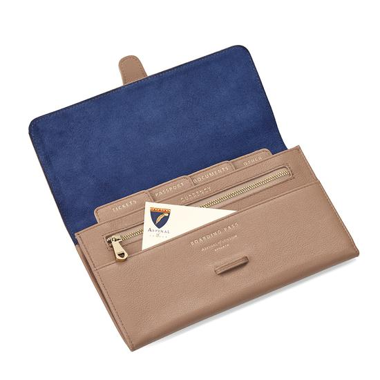 Classic Travel Wallet in Camel Pebble from Aspinal of London