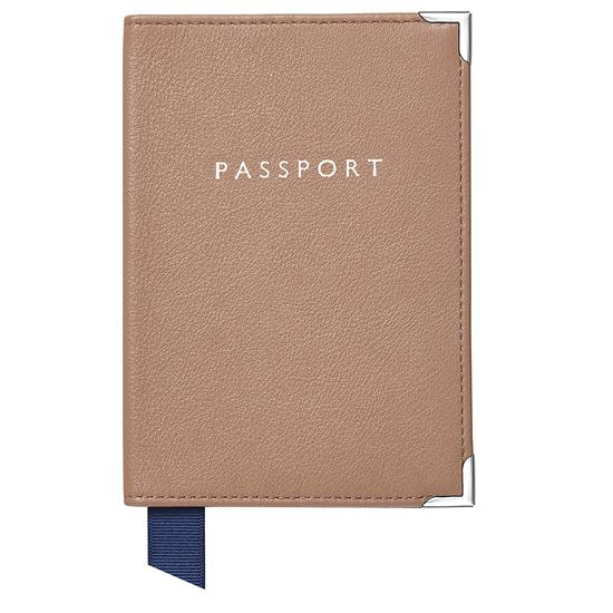 Passport Cover in Camel Pebble from Aspinal of London