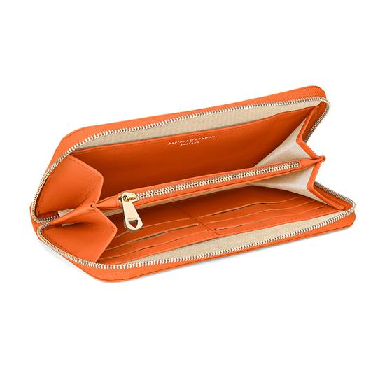 Continental Clutch Zip Wallet in Smooth Orange from Aspinal of London