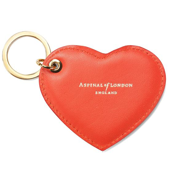 Heart Key Ring in Smooth Coral from Aspinal of London