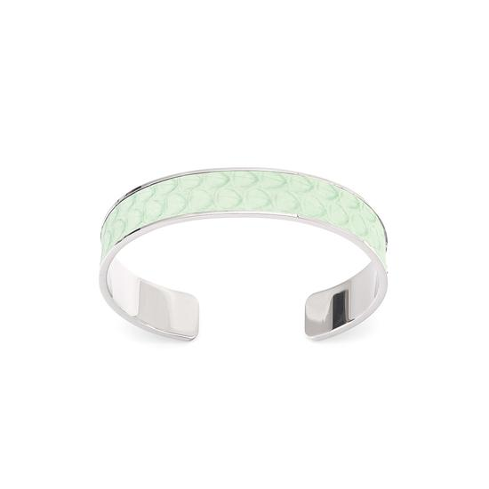 Silver Cleopatra Skinny Cuff Bracelet in Peppermint Snake from Aspinal of London