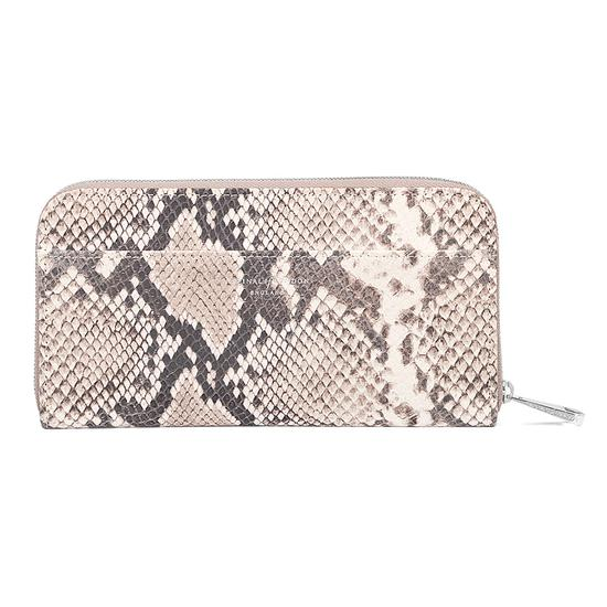 Continental Clutch Zip Wallet in Smooth Ivory & Natural Python Print from Aspinal of London